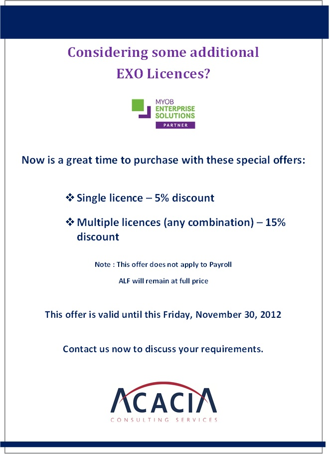 MYOB EXO - special offer image