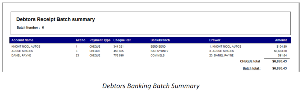 debtor receipt batch summary