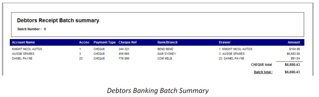 debtor receipt batch summary