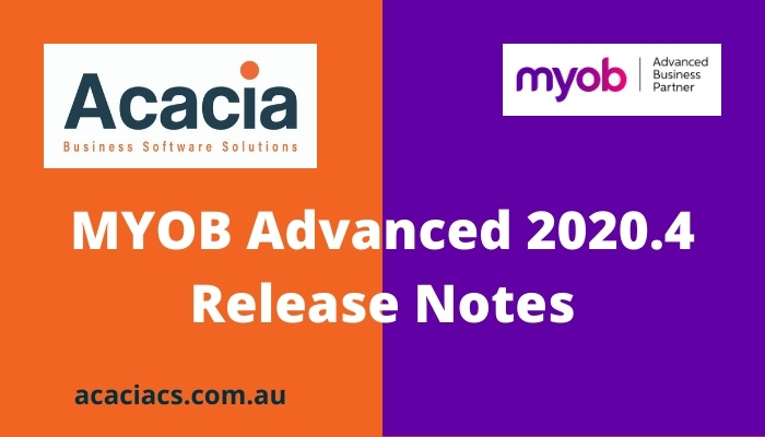 MYOB Advanced 2020.4 Release Notes