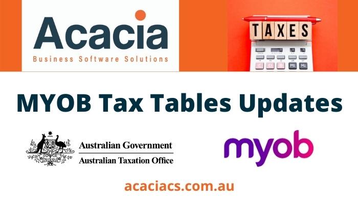 MYOB Tax Tables Updates